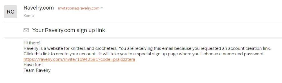 registarační email z ravelry